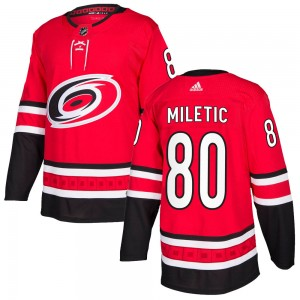Sam Miletic Carolina Hurricanes Men's Adidas Authentic Red Home Jersey