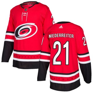 Nino Niederreiter Carolina Hurricanes Men's Adidas Authentic Red Home Jersey