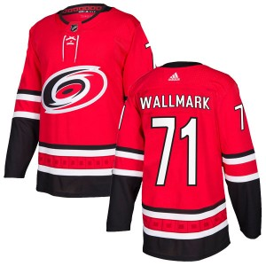 Lucas Wallmark Carolina Hurricanes Men's Adidas Authentic Red Home Jersey