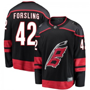 Gustav Forsling Carolina Hurricanes Youth Fanatics Branded Black Breakaway Alternate Jersey