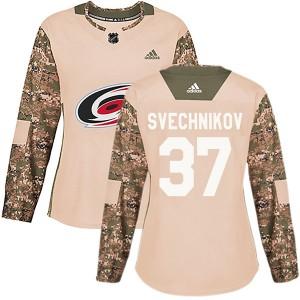 Andrei Svechnikov Carolina Hurricanes Women's Adidas Authentic Camo Veterans Day Practice Jersey