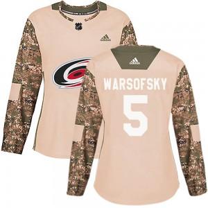 David Warsofsky Carolina Hurricanes Women's Adidas Authentic Camo Veterans Day Practice Jersey