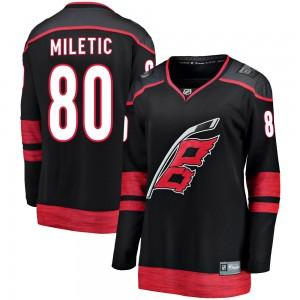 Sam Miletic Carolina Hurricanes Women's Fanatics Branded Black Breakaway Alternate Jersey