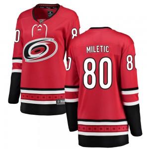 Sam Miletic Carolina Hurricanes Women's Fanatics Branded Red Breakaway Home Jersey