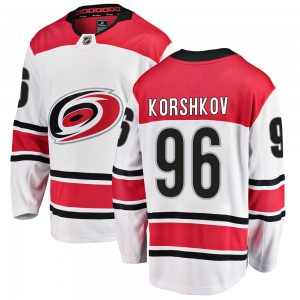 Egor Korshkov Carolina Hurricanes Men's Fanatics Branded White Breakaway Away Jersey