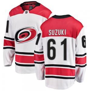 Ryan Suzuki Carolina Hurricanes Men's Fanatics Branded White Breakaway Away Jersey