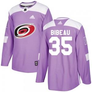 Antoine Bibeau Carolina Hurricanes Men's Adidas Authentic Purple Fights Cancer Practice Jersey