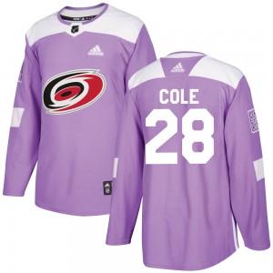 Ian Cole Carolina Hurricanes Men's Adidas Authentic Purple Fights Cancer Practice Jersey