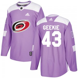 Morgan Geekie Carolina Hurricanes Men's Adidas Authentic Purple ized Fights Cancer Practice Jersey