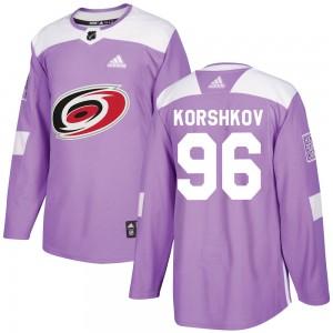 Egor Korshkov Carolina Hurricanes Men's Adidas Authentic Purple Fights Cancer Practice Jersey