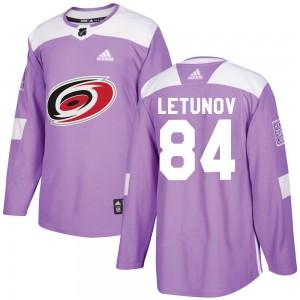 Maxim Letunov Carolina Hurricanes Men's Adidas Authentic Purple Fights Cancer Practice Jersey