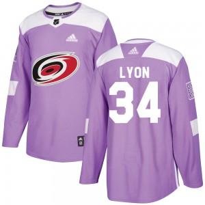 Alex Lyon Carolina Hurricanes Men's Adidas Authentic Purple Fights Cancer Practice Jersey