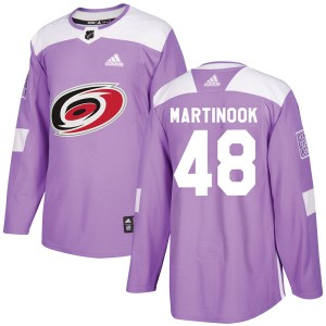 Jordan Martinook Carolina Hurricanes Men's Adidas Authentic Purple Fights Cancer Practice Jersey