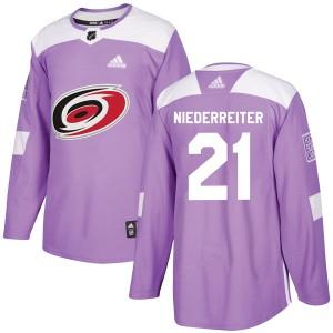 Nino Niederreiter Carolina Hurricanes Men's Adidas Authentic Purple Fights Cancer Practice Jersey
