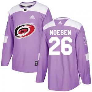 Stefan Noesen Carolina Hurricanes Men's Adidas Authentic Purple Fights Cancer Practice Jersey