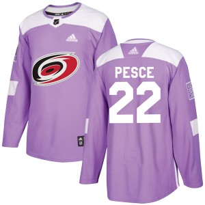 Brett Pesce Carolina Hurricanes Men's Adidas Authentic Purple Fights Cancer Practice Jersey