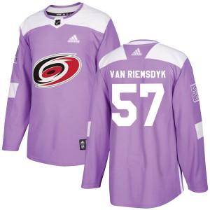 Trevor Van Riemsdyk Carolina Hurricanes Men's Adidas Authentic Purple Trevor van Riemsdyk Fights Cancer Practice Jersey