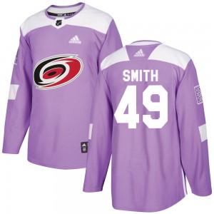 C.J. Smith Carolina Hurricanes Men's Adidas Authentic Purple Fights Cancer Practice Jersey