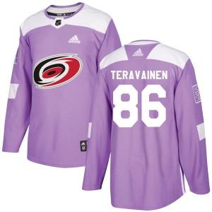 Teuvo Teravainen Carolina Hurricanes Men's Adidas Authentic Purple Fights Cancer Practice Jersey