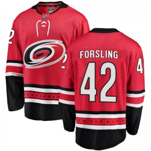 Gustav Forsling Carolina Hurricanes Youth Fanatics Branded Red Breakaway Home Jersey