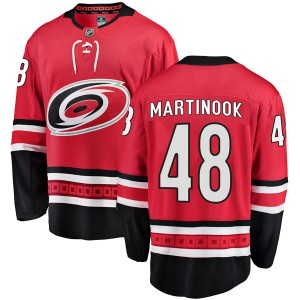 Jordan Martinook Carolina Hurricanes Youth Fanatics Branded Red Breakaway Home Jersey