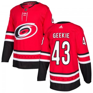 Morgan Geekie Carolina Hurricanes Youth Adidas Authentic Red ized Home Jersey
