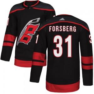 Anton Forsberg Carolina Hurricanes Men's Adidas Authentic Black ized Alternate Jersey
