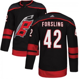 Gustav Forsling Carolina Hurricanes Men's Adidas Authentic Black Alternate Jersey