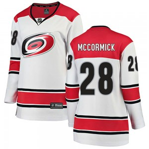 Max McCormick Carolina Hurricanes Women's Fanatics Branded White ized Breakaway Away Jersey