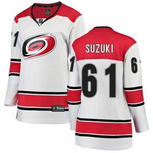 Ryan Suzuki Carolina Hurricanes Women's Fanatics Branded White Breakaway Away Jersey