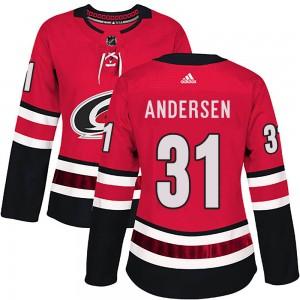 Frederik Andersen Carolina Hurricanes Women's Adidas Authentic Red Home Jersey