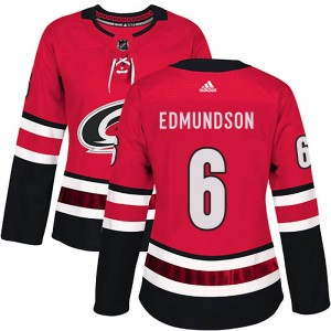 Joel Edmundson Carolina Hurricanes Women's Adidas Authentic Red Home Jersey