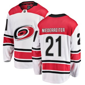 Nino Niederreiter Carolina Hurricanes Youth Fanatics Branded White Breakaway Away Jersey