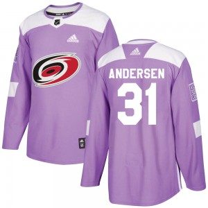 Frederik Andersen Carolina Hurricanes Youth Adidas Authentic Purple Fights Cancer Practice Jersey