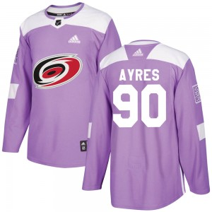 David Ayres Carolina Hurricanes Youth Adidas Authentic Purple Fights Cancer Practice Jersey