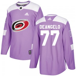 Tony DeAngelo Carolina Hurricanes Youth Adidas Authentic Purple Fights Cancer Practice Jersey
