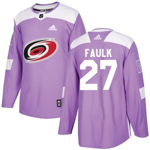 Justin Faulk Carolina Hurricanes Youth Adidas Authentic Purple Fights Cancer Practice Jersey