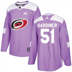 Jake Gardiner Carolina Hurricanes Youth Adidas Authentic Purple Fights Cancer Practice Jersey