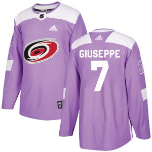 Phil Di Giuseppe Carolina Hurricanes Youth Adidas Authentic Purple Fights Cancer Practice Jersey
