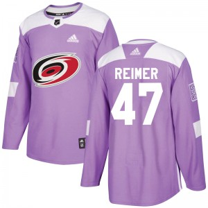 James Reimer Carolina Hurricanes Youth Adidas Authentic Purple Fights Cancer Practice Jersey