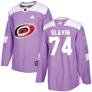 Jaccob Slavin Carolina Hurricanes Youth Adidas Authentic Purple Fights Cancer Practice Jersey