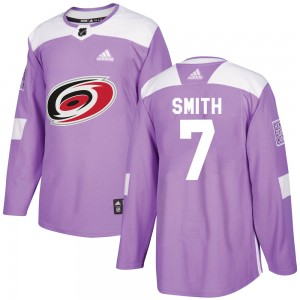 Brendan Smith Carolina Hurricanes Youth Adidas Authentic Purple Fights Cancer Practice Jersey