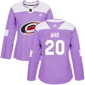 Sebastian Aho Carolina Hurricanes Women's Adidas Authentic Purple Fights Cancer Practice Jersey