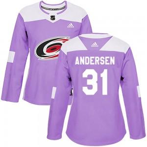 Frederik Andersen Carolina Hurricanes Women's Adidas Authentic Purple Fights Cancer Practice Jersey