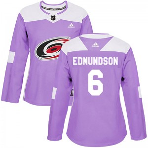 Joel Edmundson Carolina Hurricanes Women's Adidas Authentic Purple Fights Cancer Practice Jersey