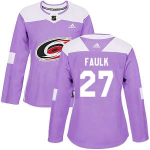 Justin Faulk Carolina Hurricanes Women's Adidas Authentic Purple Fights Cancer Practice Jersey