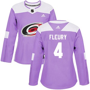 Haydn Fleury Carolina Hurricanes Women's Adidas Authentic Purple Fights Cancer Practice Jersey