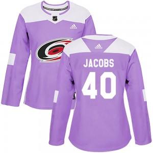 Josh Jacobs Carolina Hurricanes Women's Adidas Authentic Purple Fights Cancer Practice Jersey