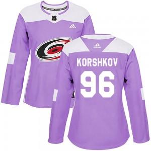Egor Korshkov Carolina Hurricanes Women's Adidas Authentic Purple Fights Cancer Practice Jersey
