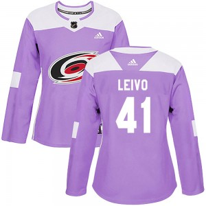 Josh Leivo Carolina Hurricanes Women's Adidas Authentic Purple Fights Cancer Practice Jersey